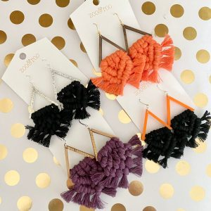 rise up from the dead macrame tassel halloween earrings