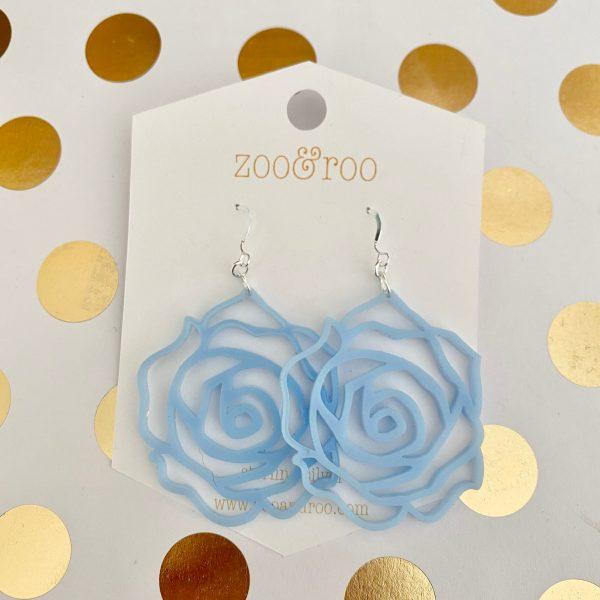 rose earrings lavender