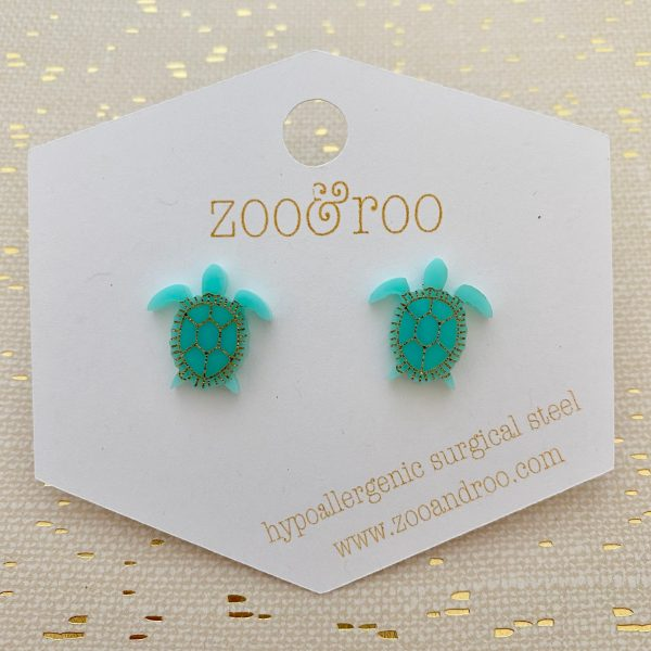 sea turtle stud earrings aqua