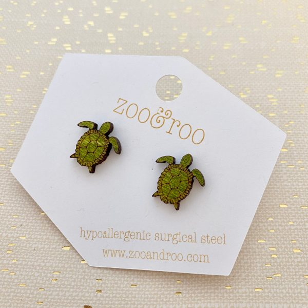 sea turtle stud earrings green wood