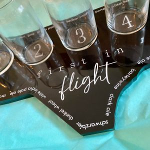 beer flight board black with silver