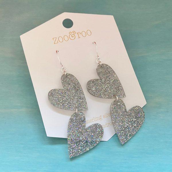 double the love fairy dust silver glitter heart earrings
