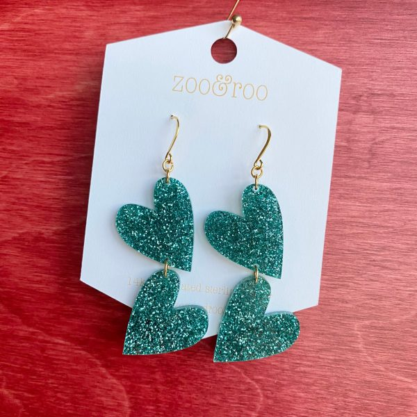 double the love island tides teal glitter heart earrings