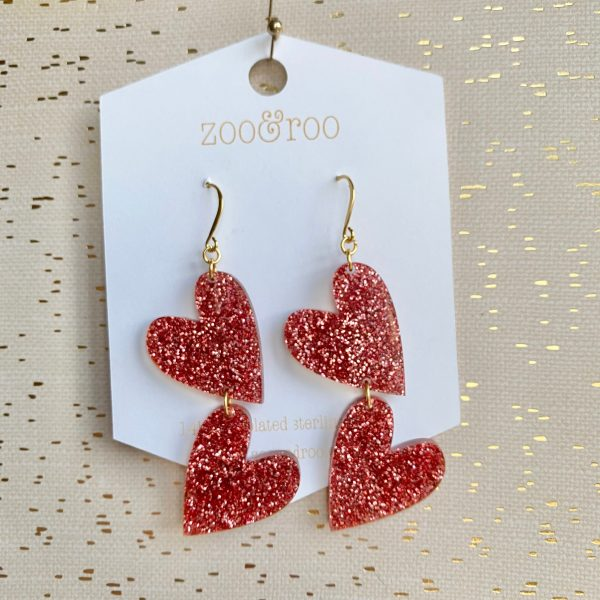 double the love slay and rose glitter heart earrings