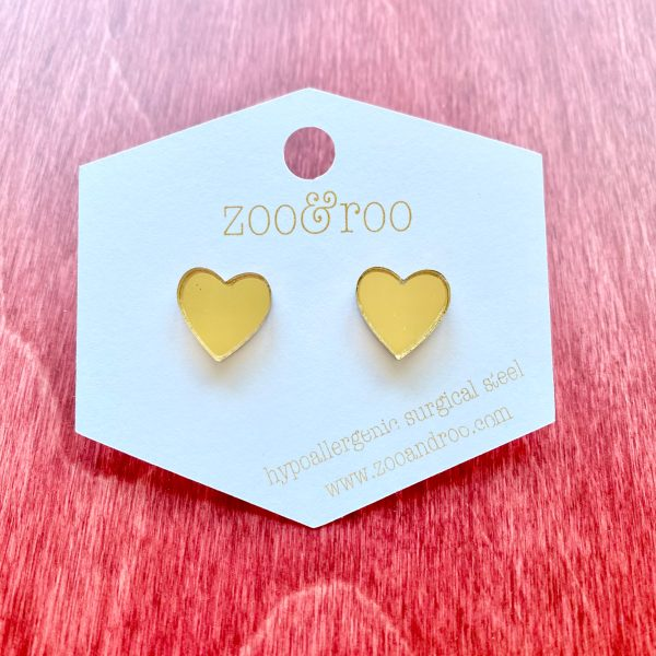 heart gold mirror studs