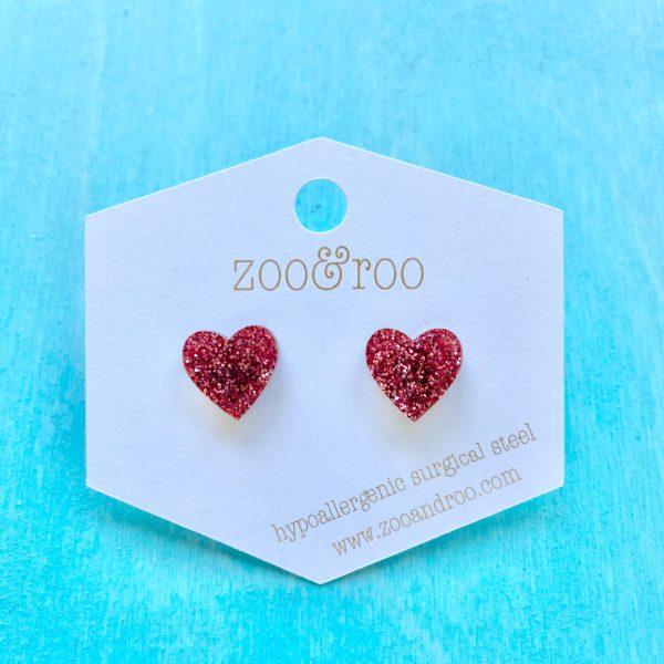 heart slay and rose studs