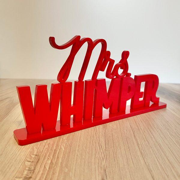 teacher name plate red Mrs. Whimper