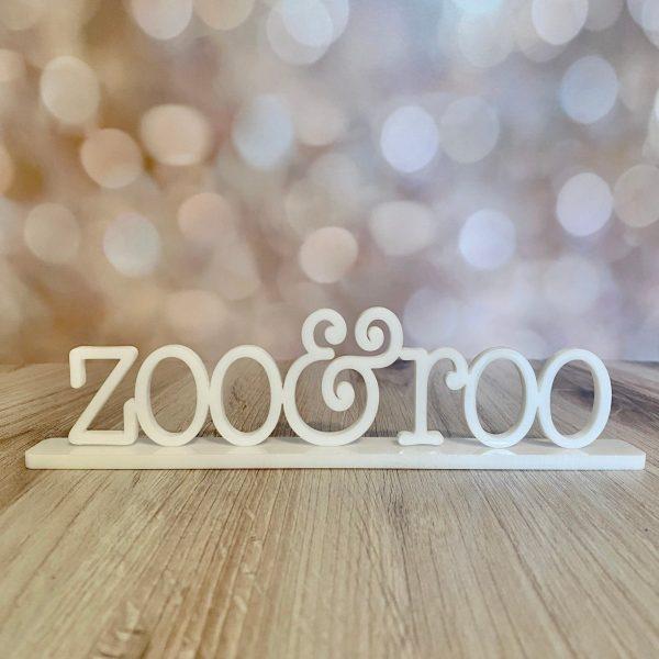 zoo and roo name plate white acrylic