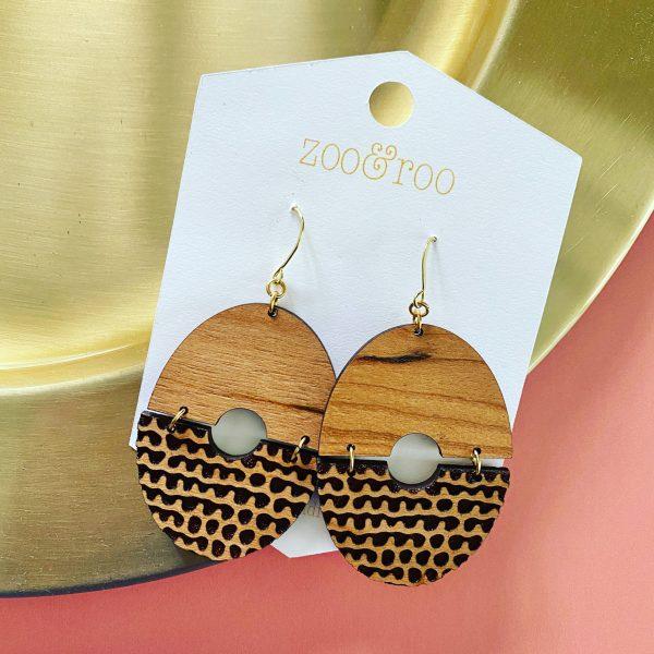 rustic grace engraved wood earrings