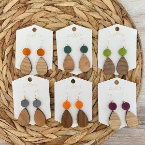 fallessence wood and acrylic earrings