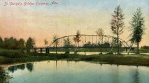 Postcard of St. George's Bridge (Colourized Postcard, 1910) ~ Courtesy of the Calgary Public Library's Postcards of the Past Collection