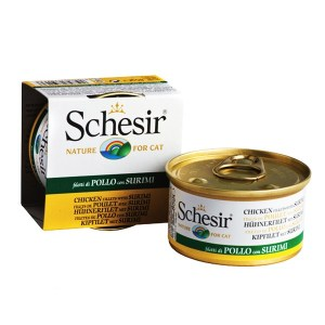 Schesir Chicken Surimi Натуральные консервы для кошек, филе курицы с сурими в желе, 85 г