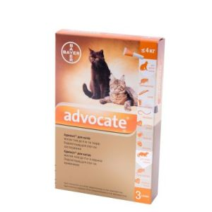 Адвокат (Advocate Bayer) для кошек весом до 4 кг, 3 пипетки