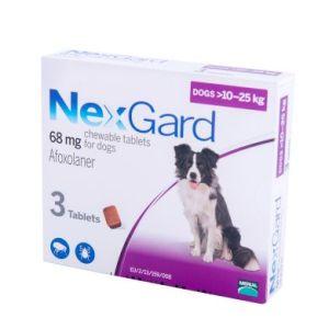 Нексгард (NexGard) таблетки от блох и клещей для собак весом 10-25 кг, 3 таб
