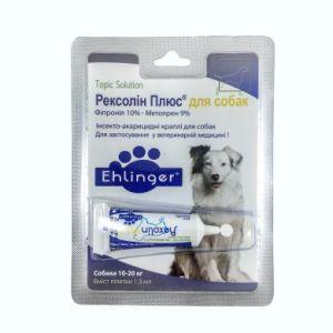 Рексолин плюс капли для собак весом 10-20 кг, 1 пипетка х 1,3 мл