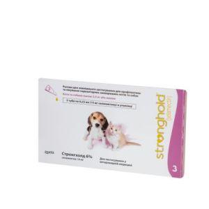Стронгхолд (Stronghold) 6%/15 мг для котят и щенят весом до 2,5 кг, 3 пипетки х 0,25 мл