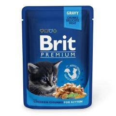 Влажный корм для котят Brit Premium Cat Chicken Chunks for Kitten pouch 100 г (кусочки курицы)