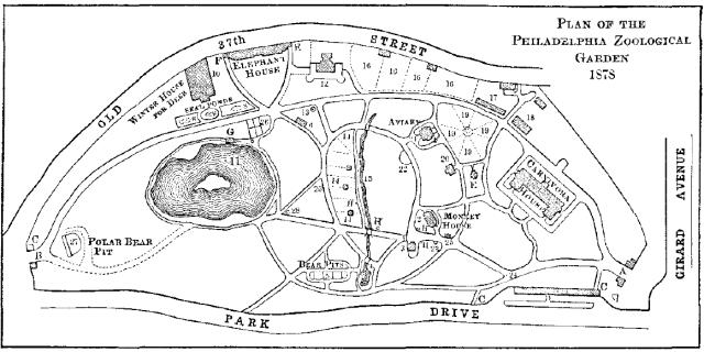 Philadelphia Zoo map, 1878. Source: Harper's New Monthly Magazine (April 1879).