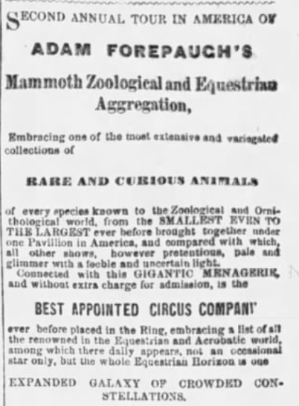 Advertisement for a traveling menagerie in the Philadelphia Inquirer, April 1, 1868.