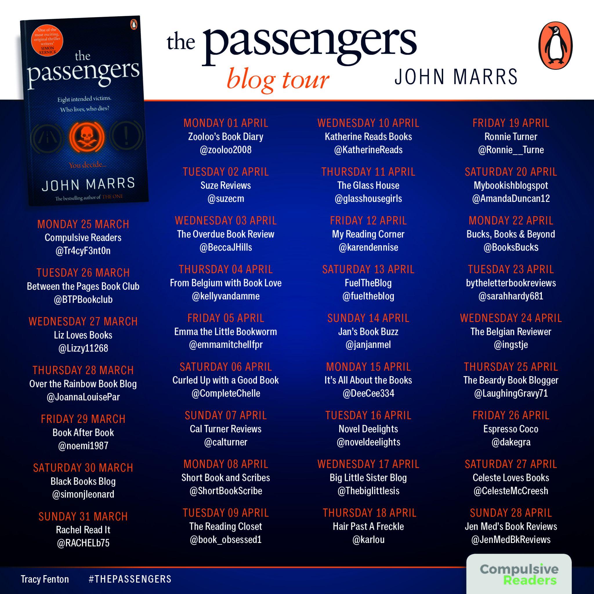 #BookReview of Passengers by John Marrs @johnmarrs1 @Tr4cyF3nt0n @eburypublishing