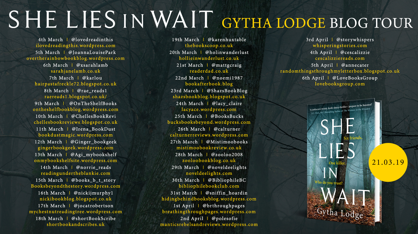#BookReview of She Lies in Wait by Gytha Lodge @thegyth @JennyPlatt90 @MichaelJBooks #DetectiveJonahSheens #WhoDoYouTrust?