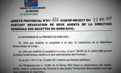 Nord-Kivu: 2 agents révoqués de la Direction Générale des recettes pour détournement!