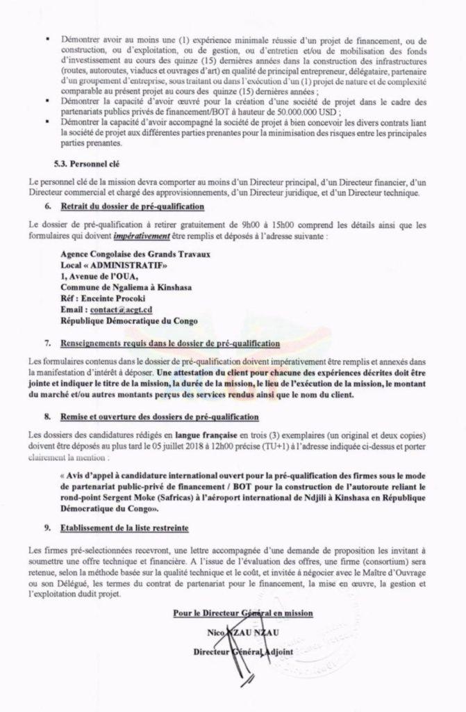 ACGT : avis d'appel à candidature international n°ACGT/DG/SPCGMP/001/2018 3