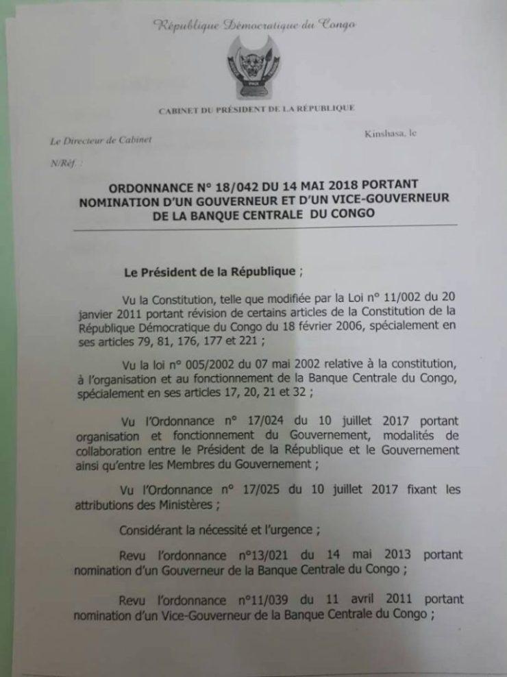RDC : Joseph Kabila reconduit le mandat du gouverneur de la Banque centrale ! 2