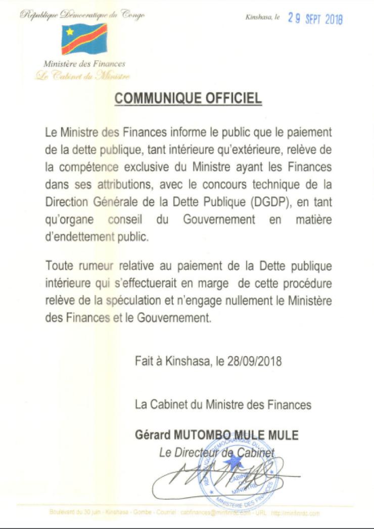 RDC : mise au point du ministère des Finances sur le paiement de la dette publique 2