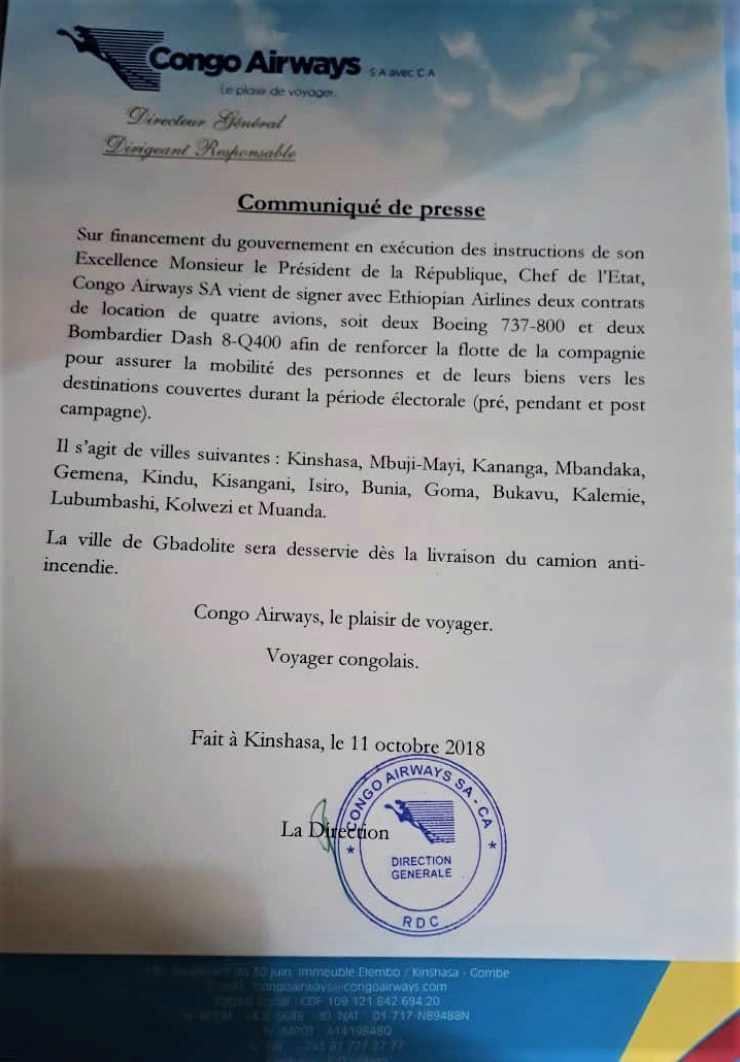 RDC : Congo Airways renforce sa flotte de quatre avions pris en leasing ! 2