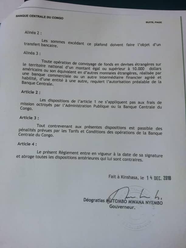 RDC: la BCC réglemente tout voyage avec des billets de banque d'une valeur de 10000 USD ou plus 3
