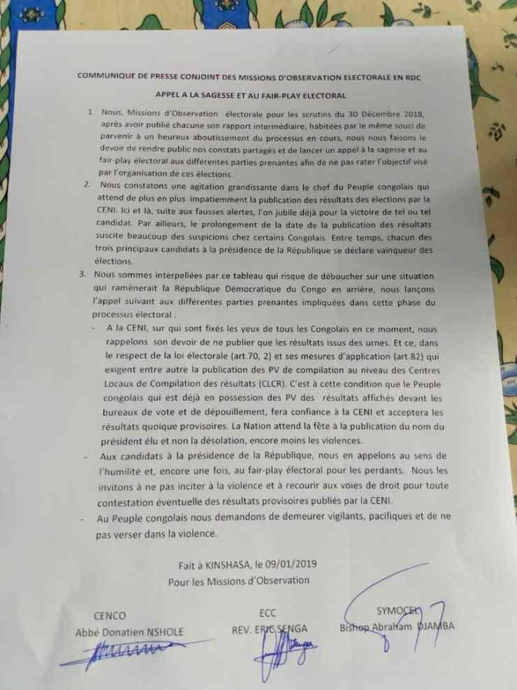 RDC : les candidats perdants appelés au fair-play électoral ! 2