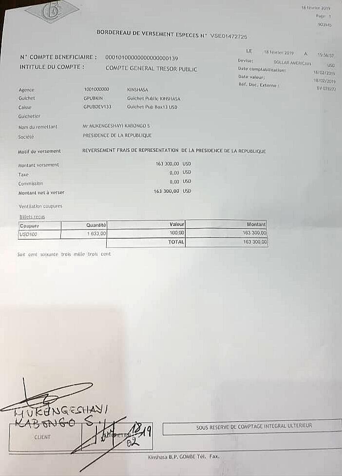 RDC : Tshisekedi reverse 163 300 USD au Trésor public [documents] 2