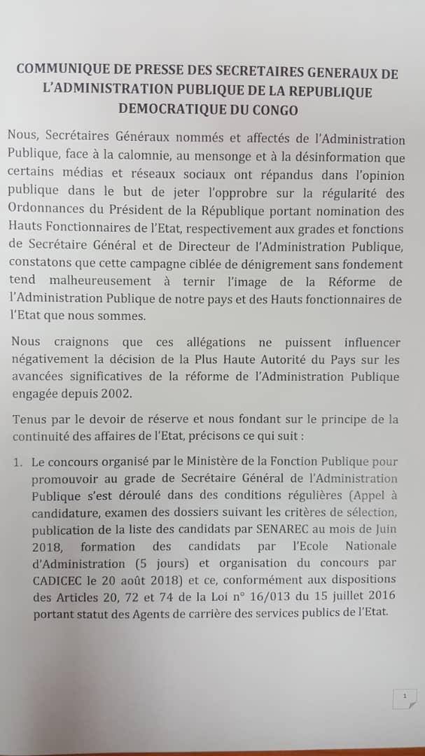 RDC : appel au respect des droits acquis des secrétaires généraux nommés ! 2