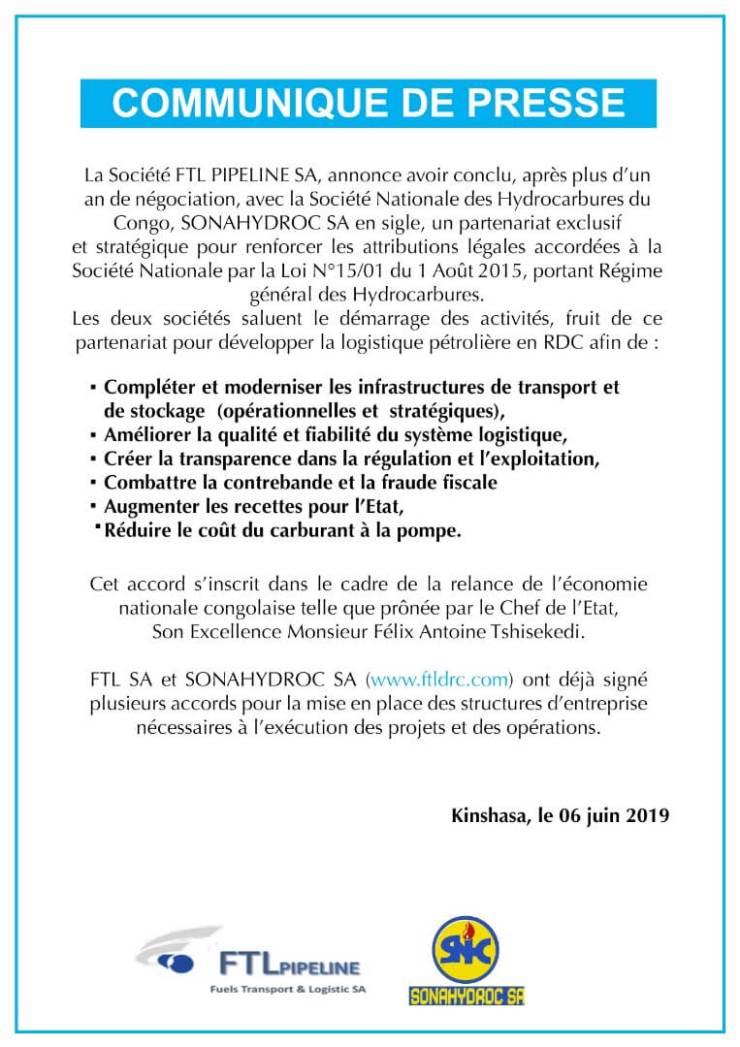 RDC : FTL Pipeline-Sonahydroc, un partenariat exclusif dans le secteur pétrolier 3