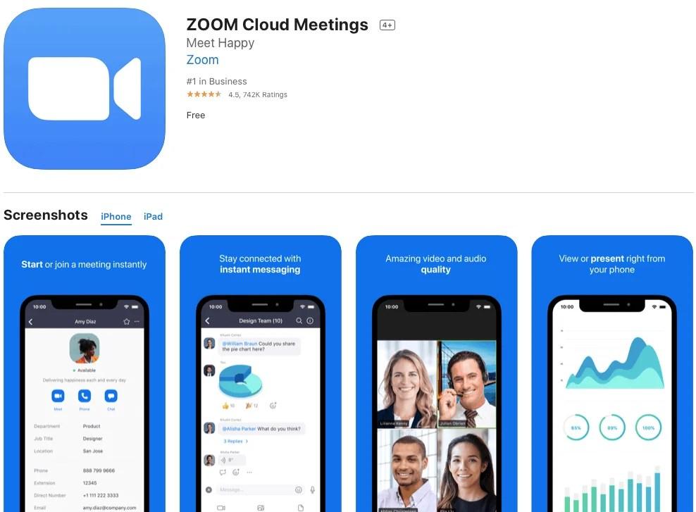 Cách tải zoom meeting của Apple Store