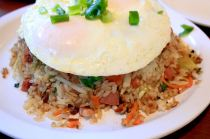 Island-style fried rice with easy over eggs