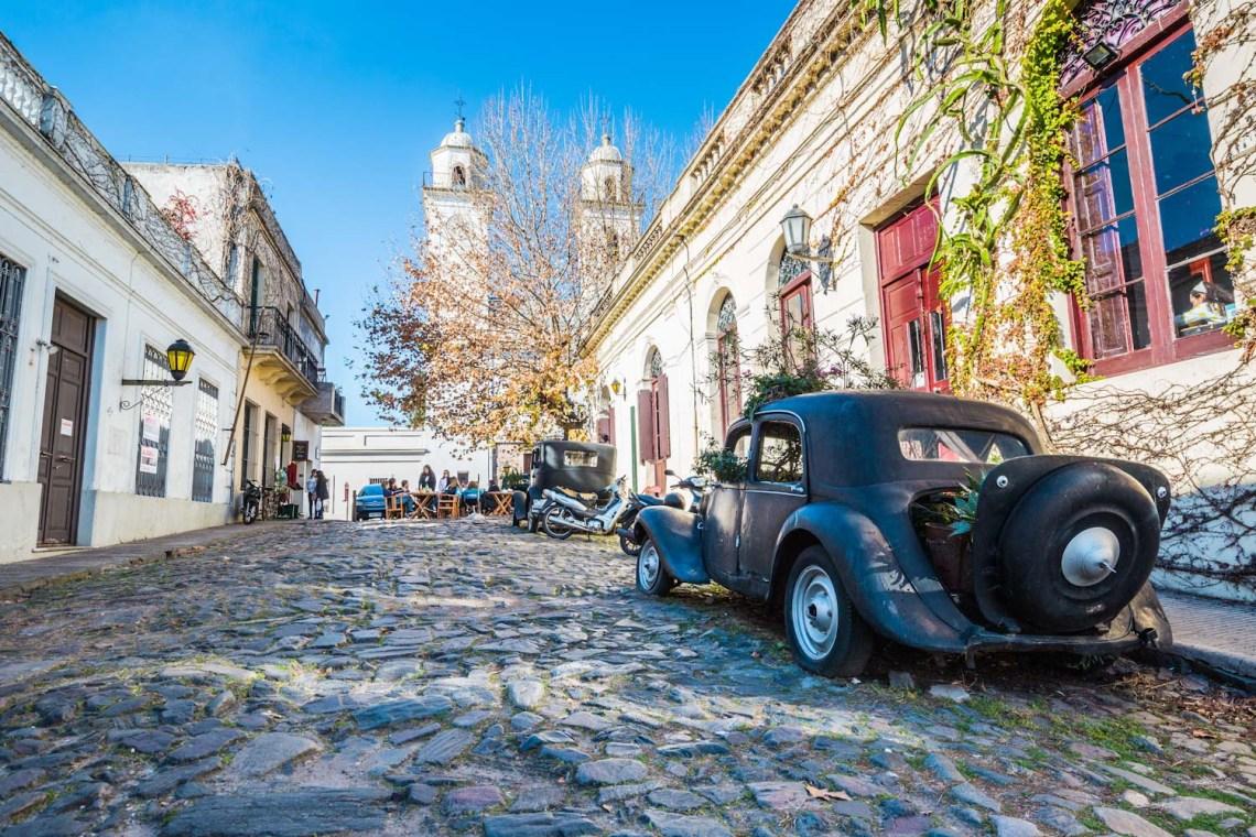 Colonia Del Sacramento - July 02, 2017: Old vintage car in the o