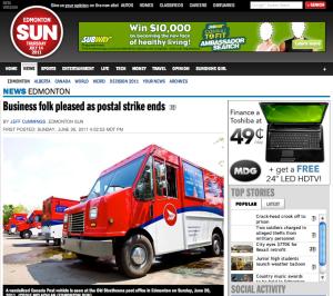 Edmonton SUN Postal Service Returns