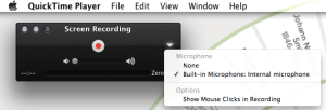 Quicktime screen recording-select built-in mic