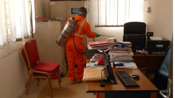 Jospong Group disinfects offices against COVID-19