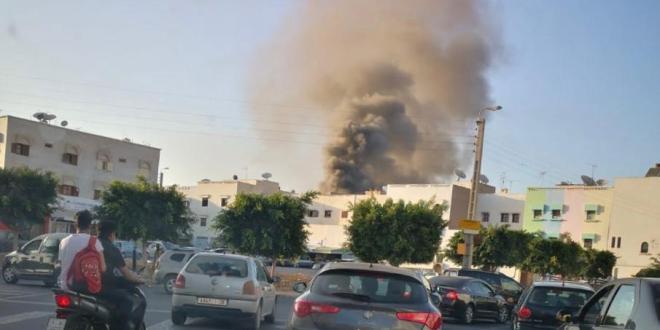 اندلع حريق مهول بأحد المنازل المخصصة لتخزين الأفرشة بحي الداخلة بمدينة أكادير