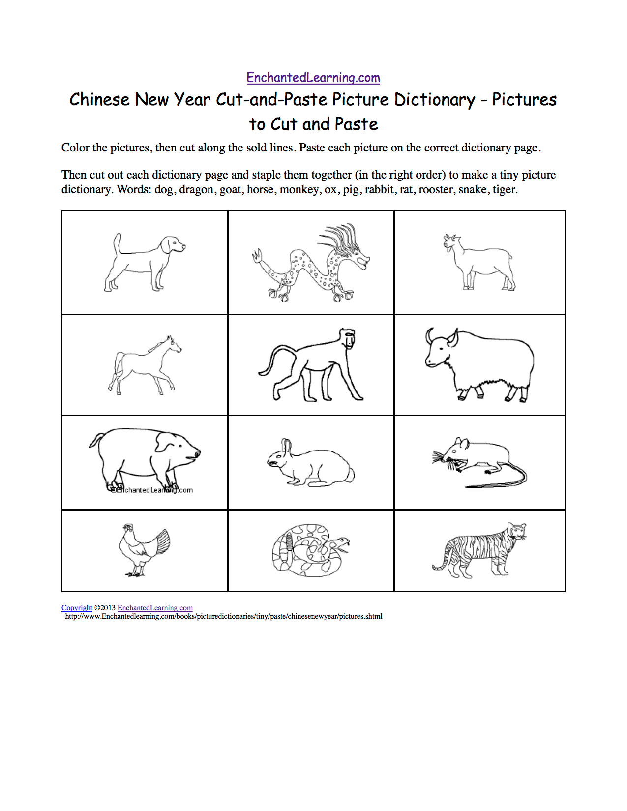 Chinese New Year Cut And Paste Picture Dictionary
