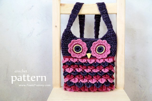 Crochet Owl Purse With Feathers Pattern No 067 Zoom Yummy