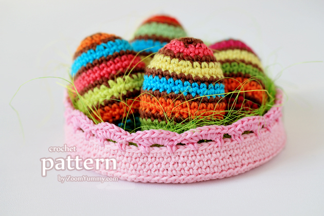 Crochet Striped Easter Eggs In A Bowl