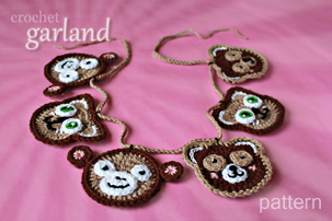 crochet animal toy decorations - monkey, teddy bear, pussy cat - appliques, Christmas tree ornaments, garland - pattern