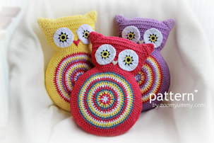 crochet owl cushions pattern