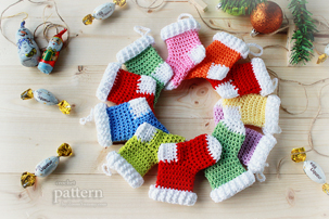 crochet pattern, crochet christmas stocking ornaments