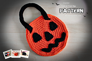 Halloween Trick or Treat Bag, Halloween crochet trick or treat bag, Halloween crochet trick or treat bag pattern, how to make Halloween trick or treat bag, trick or treat bag pattern, Halloween pdf pattern, Halloween trick or treat pdf pattern