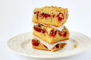 rhubarb and cherry crumb cake recipe with step by step pictures, pictures, images, instructions, ingredients